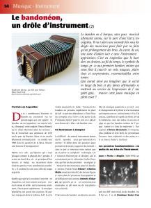 Article sur le bandonéon (2) paru dans la revue Tout Tango n° 11 Janvier-Février-Mars 2007 - 1ère pagenéon