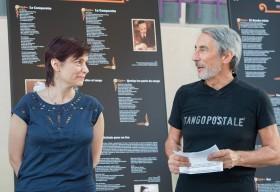 EXPOSITION - Solange Bazely et Christian Couderette, Président de Tangopostale, lors de l'inauguration d'Expoésie en juin 2015 à Toulouse © Jean-Pierre Van Loocke