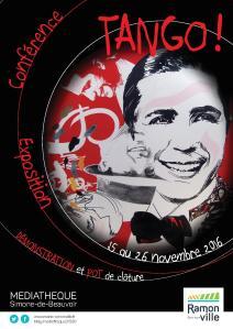 Affiche de l'exposition Carlos Gardel à la Médiathèque de Ramonville du 15 au 26 novembre 2016