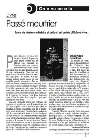 Critique du livre l'échange de Eugenia Almeida dans La Salida n° 101 - Décembre 2016