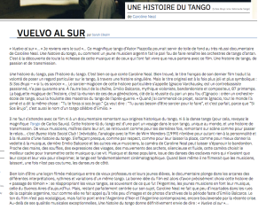 Article presse Une histoire du tango Caroline Neal Critikart Sarah Elkaim